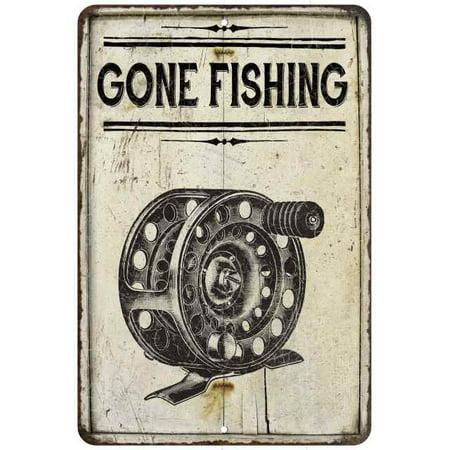 Gone Fishing Reel Vintage Look Chic Distressed 8x12208120020247 (Loop Reel)