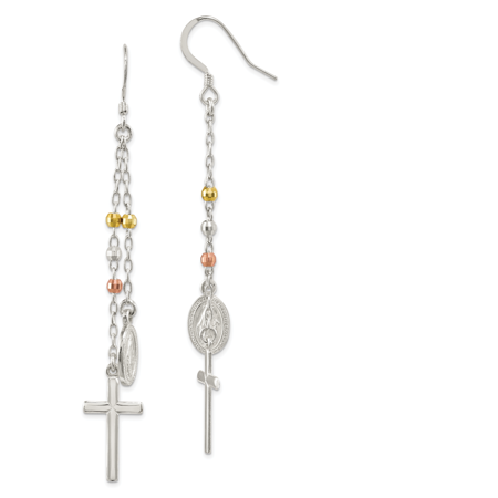 Sterling Silver Gold-tone/Rose-tone Miraculous Medal & Cross Hook (Miraculous Medal Earrings)