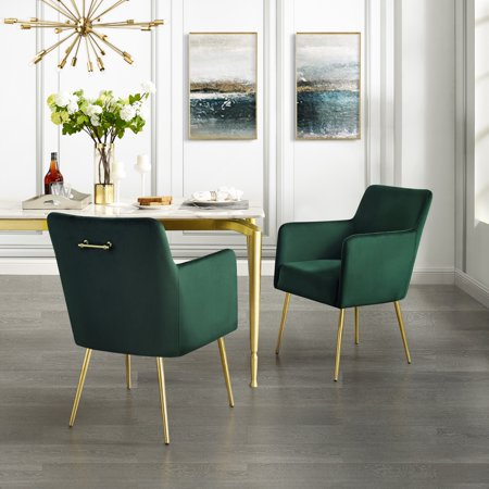 Donati Emerald Velvet Dining Chair – Set of 2   Arm Chair   Knob Handle   Stainless Steel Legs ()