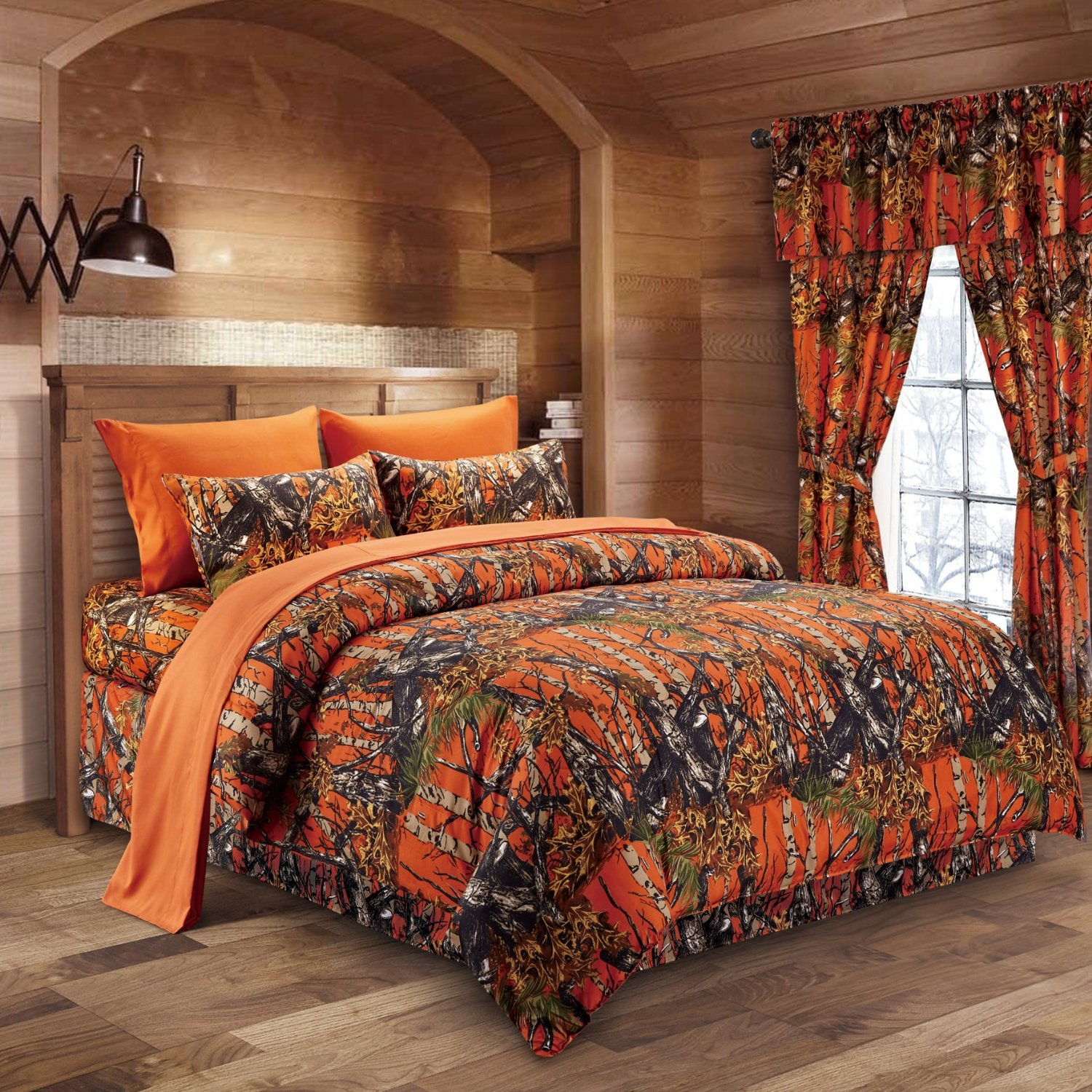 Regal Comfort 8pc Queen Size Woods Orange Camouflage Premium Comforter, Sheet, Pillowcases, and Bed Skirt Set Camo Bedding Set For Hunters Cabin or Rustic Lodge Teens Boys and Girls