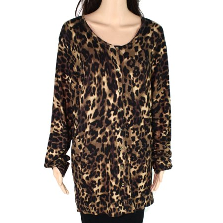Women Sweater Plus Buttoned Cardigan Cheetah Print 3X