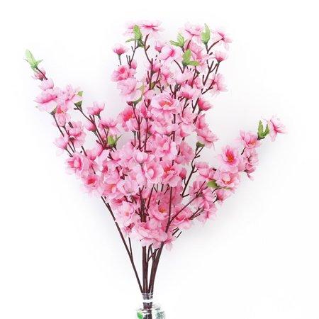 Peach Blossom Simulation Flowers Artificial Flowers Silk Flower Decorative Flowers Wreaths for Home Decoration 6pcs (Pink)