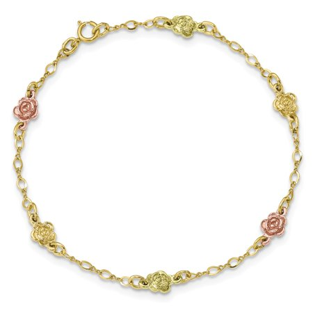 Rose Rose Gold Bracelet (Roy Rose Jewelry 10k Tri-Color Gold Black Hills Gold Roses Bracelet ~ length: 7.5 inches )