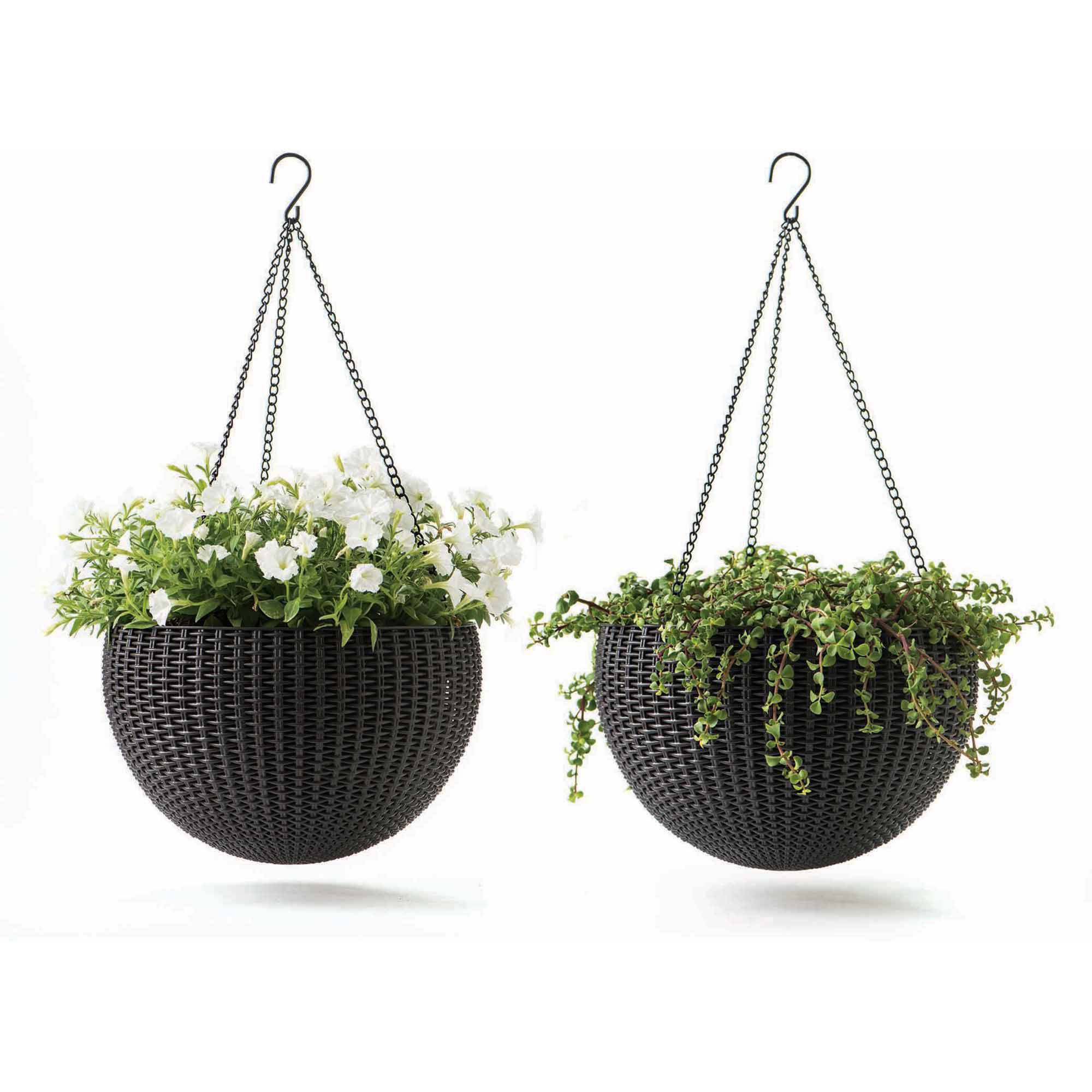 Keter Round Resin Hanging Planters, 2pk, All-Weather Plastic ...