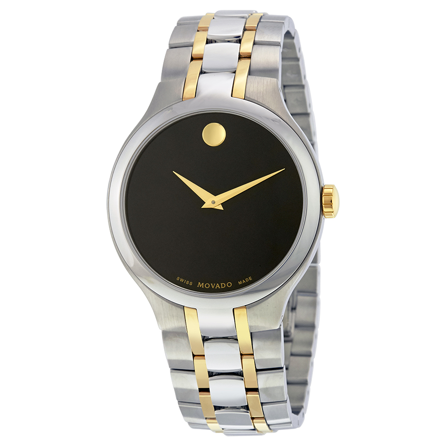 Movado Black Dial Two Tone Stainless Steel Mens Watch 060...