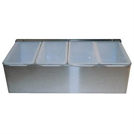 Cocktail Bar Garnish Tray in Stainless Steel - 4 Compartments