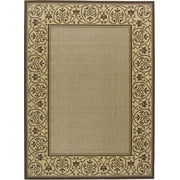 "Creative Home Patio Outdoor Area Rugs - 1354-687 Outdoor Beige Bordered Scrolls Vines Rug 5' 3"" x 7' 4"" Rectangle"