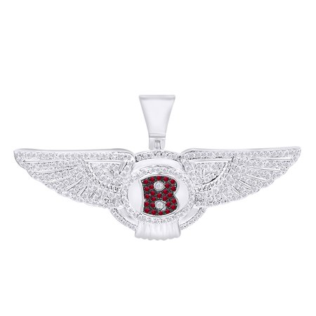1/2 Carat Round White Natural Diamond & Simulated Garnet Hip Hop Luxury Car logo pendant 10K Solid White Gold ()