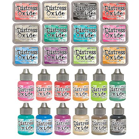 Tim Holtz Distress OXIDE Ink Pads AND Reinkers Set in All 12 Colors Set #2 by Ranger (Summer 2017 (Reinker Distress Ink)