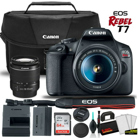 Canon EOS Rebel T7 DSLR Camera with 18-55mm Lens + Canon EOS Bag + Sandisk Ultra 64GB Card + Clean and Care Kit