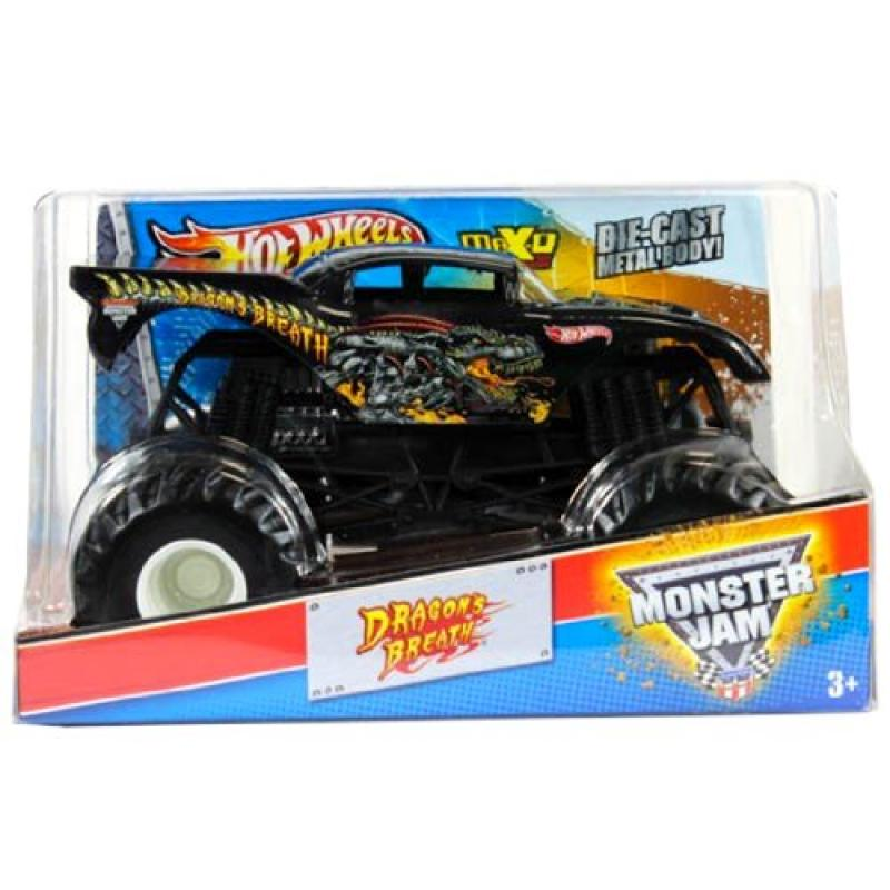 "Hot Wheels Year 2013 Monster Jam 1:24 Scale Die Cast Official Monster Truck - DRAGON'S BREATH (W3349) with Monster Tires, Working Suspension and 4 Wheel Steering (Dimension - 7"" L x 5-1/2"" W x 4-1/2"""