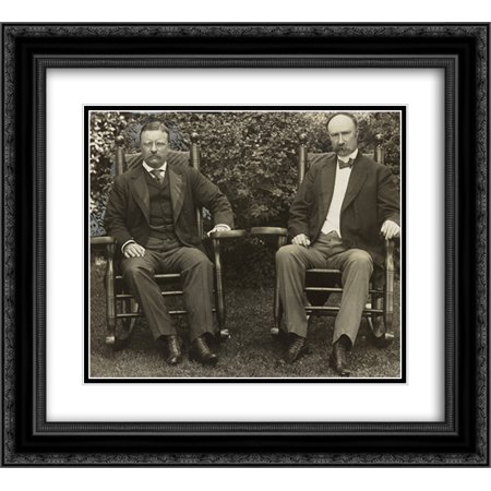 President Theodore Roosevelt and Vice President Charles Fairbanks, seated in rocking chairs, facing front, on lawn at Sagamore Hill, Oyster Bay, N.Y. 22x20 Double Matted Black Ornate Framed Art Print (Oyster Bay Halloween Festival)