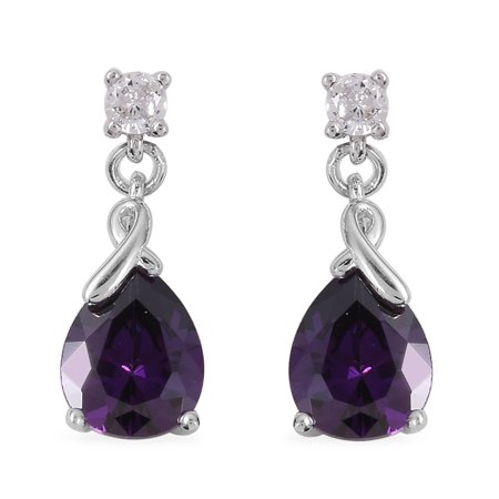 2 Stone Drop Dangle Drop Earrings Purple White Cubic Zirconia CZ Rhodium Plated 925 Sterling Silver Jewelry for Women ()