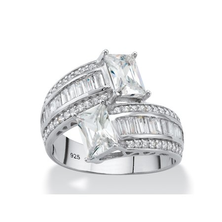 Emerald-Cut Cubic Zirconia Bypass Cocktail Ring 3.25 TCW in Platinum over Sterling Silver