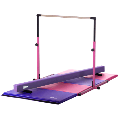 Little Gym Pink Horizontal Bar, Purple Balance Beam, Pink Purple Folding Mat by Nimble Sports