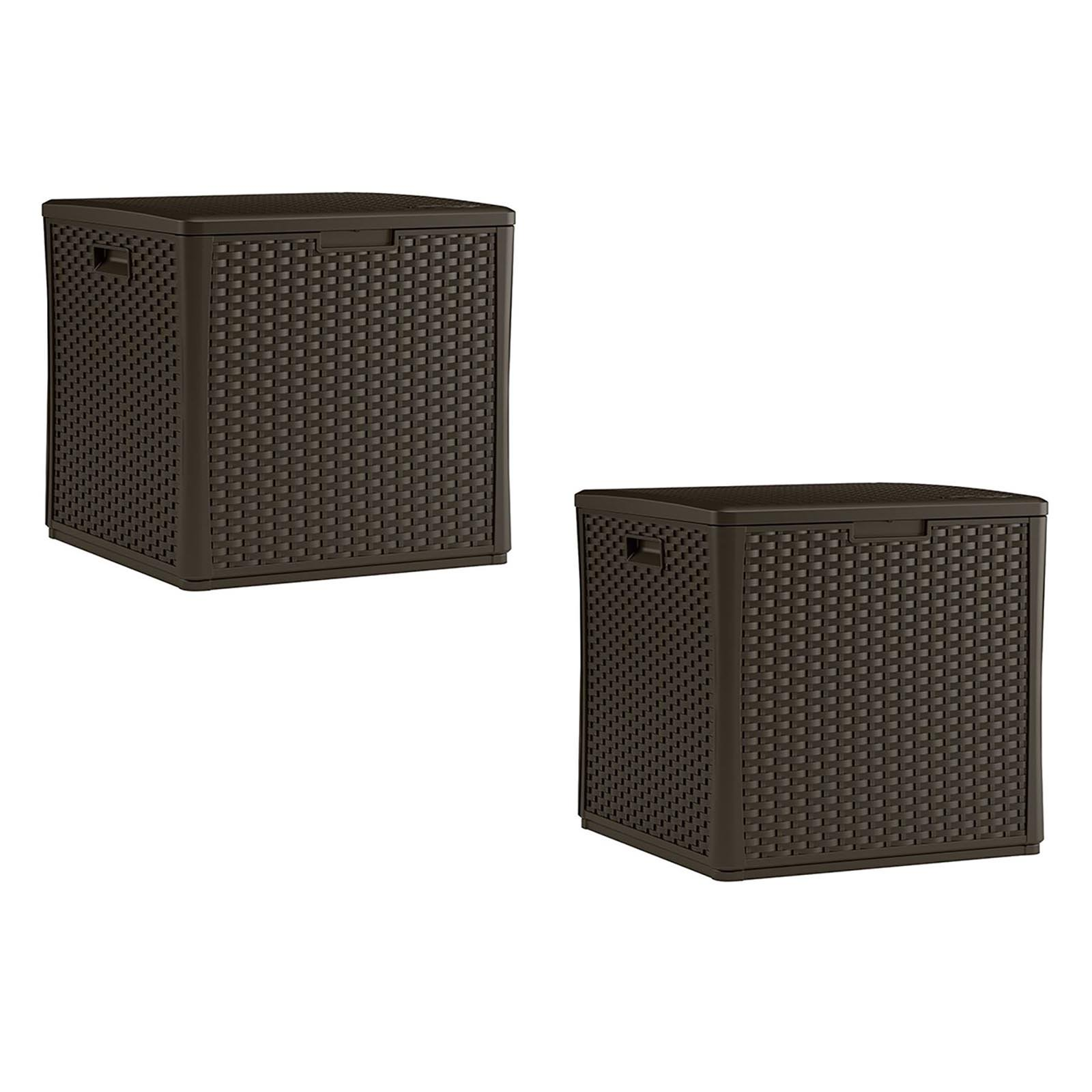 Suncast 60 Gallon Resin Wicker Design Cube Shape Storage Deck Box, Java, 2 Pack by Suncast