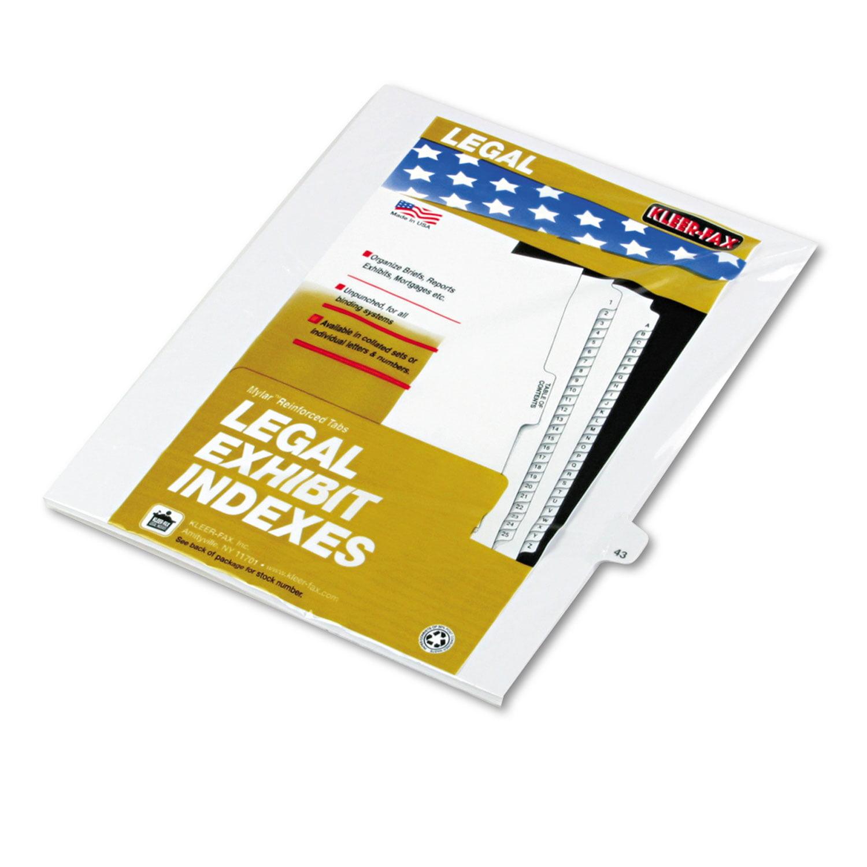 """80000 Series Legal Index Dividers, Side Tab, Printed """"43\ by Kleer-Fax"""