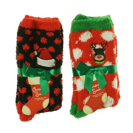 Gold Medal Women's Christmas Butter Socks Reindeer Santa Hat 2 Pack (Red Hat Socks)
