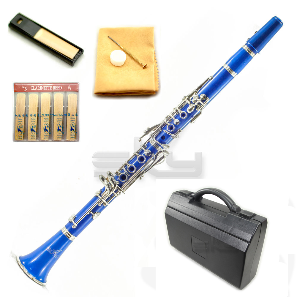 SKY Blue ABS Bb Clarinet with Case, Mouthpiece, 11 Reeds, Care kit and more