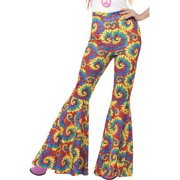 Adults Womens 70s Flared Groovy Tie Dye Disco Pants Costume Large 14-16
