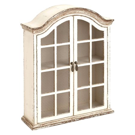 Decmode Wood and Metal Wall Cabinet, White