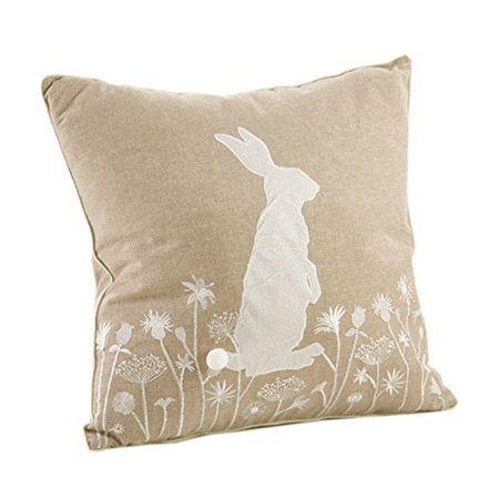 Fennco Styles Handmade Cottontail Rabbit Embroidered Throw Pillow - 2 Styles (Bunny) - Bunny Pillows