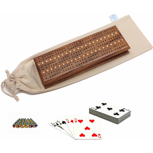 Deluxe Cabinet Cribbage Set, Solid Oak Wood with Medium Stain and Inlay Sprint 3 Track Board with Swarovski Austrian Crystal Pegs, 2 Decks of Cards and Canvas Storage Bag