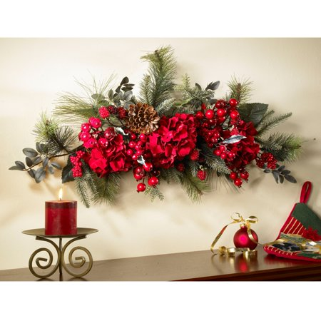 Nearly Natural 30-Inch Holiday Hydrangea Swag