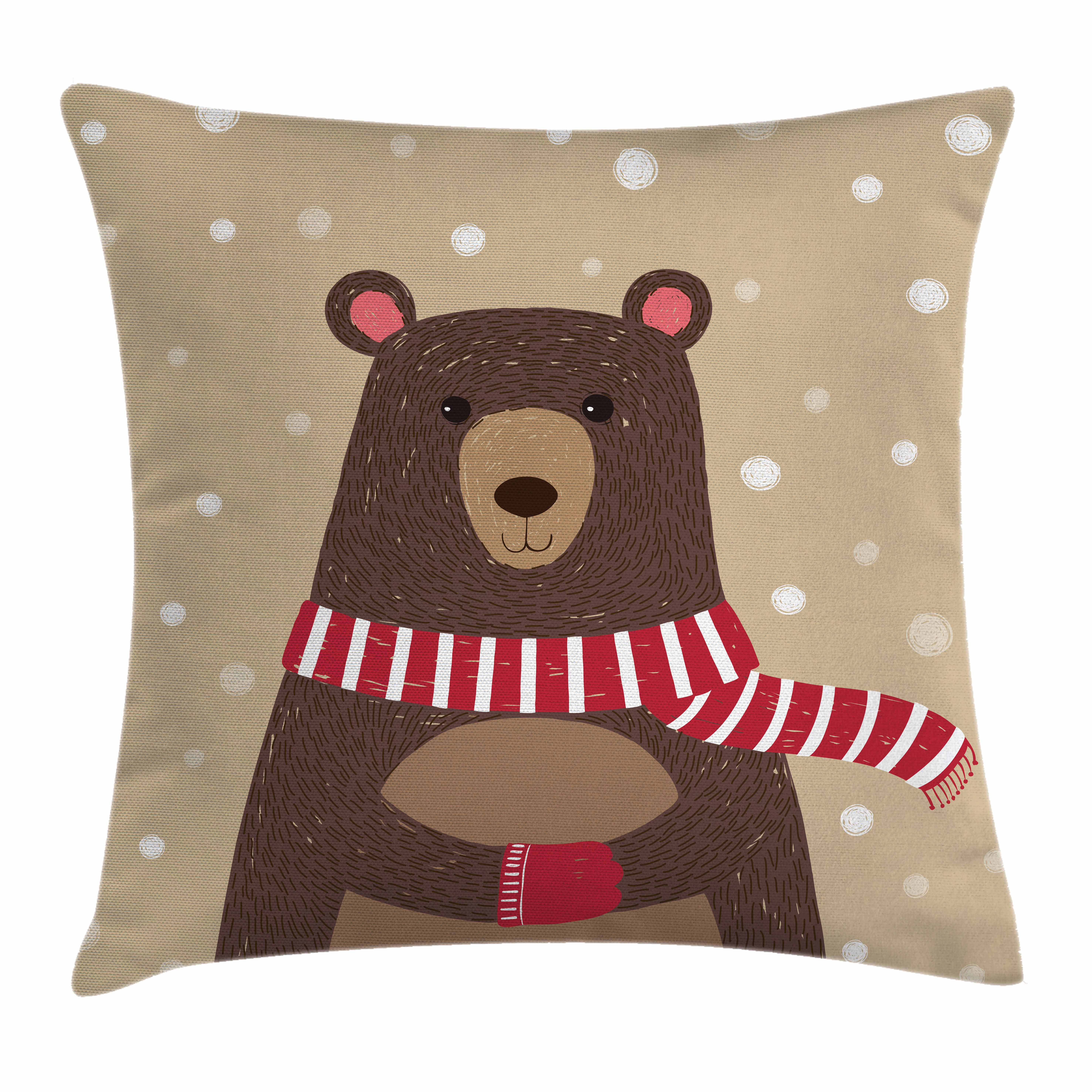 Doodle Throw Pillow Cushion Cover, Cute Bear Wearing Red Scarf under Snow Winter Cold Weather Kids Playroom Print, Decorative Square Accent Pillow Case, 16 X 16 Inches, Brown Sand Brown, by Ambesonne