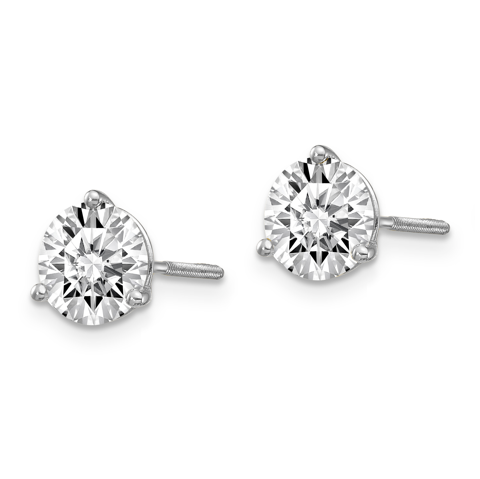 14k White Gold 2ctw Si1/si2 G H I Lab Grown Diamond 3 Prg Screwbk Earrings Stud Fine Jewelry Gifts For Women For Her - image 1 de 2