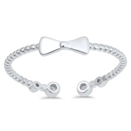 Cubic Zirconia Bow Tie Rope Ring Sterling Silver](Bow Tie Ring)