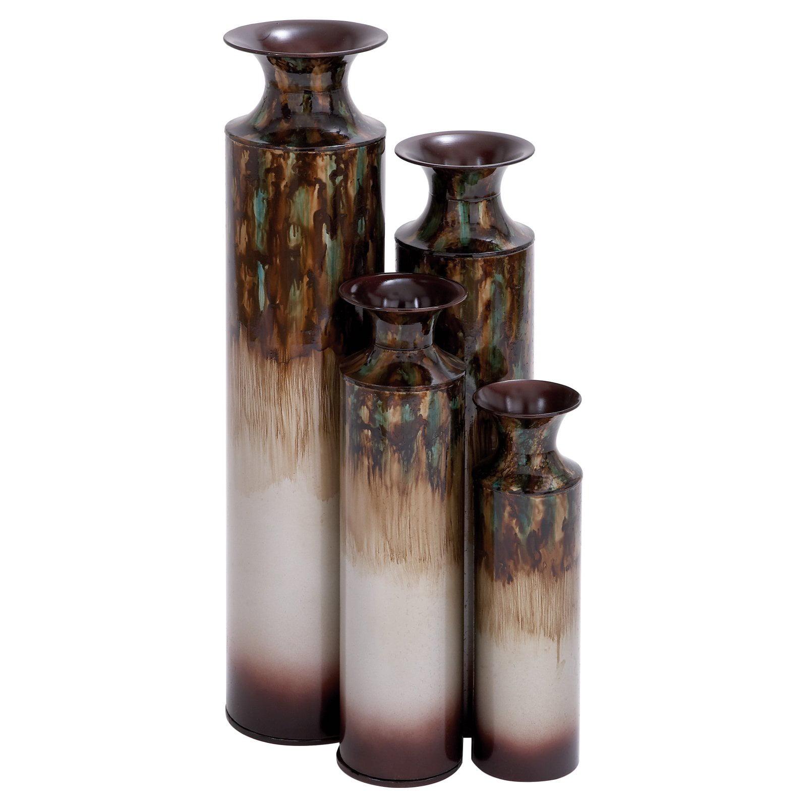 Nice Looking Metal Vase Set Of 4 Complete Garden Decor