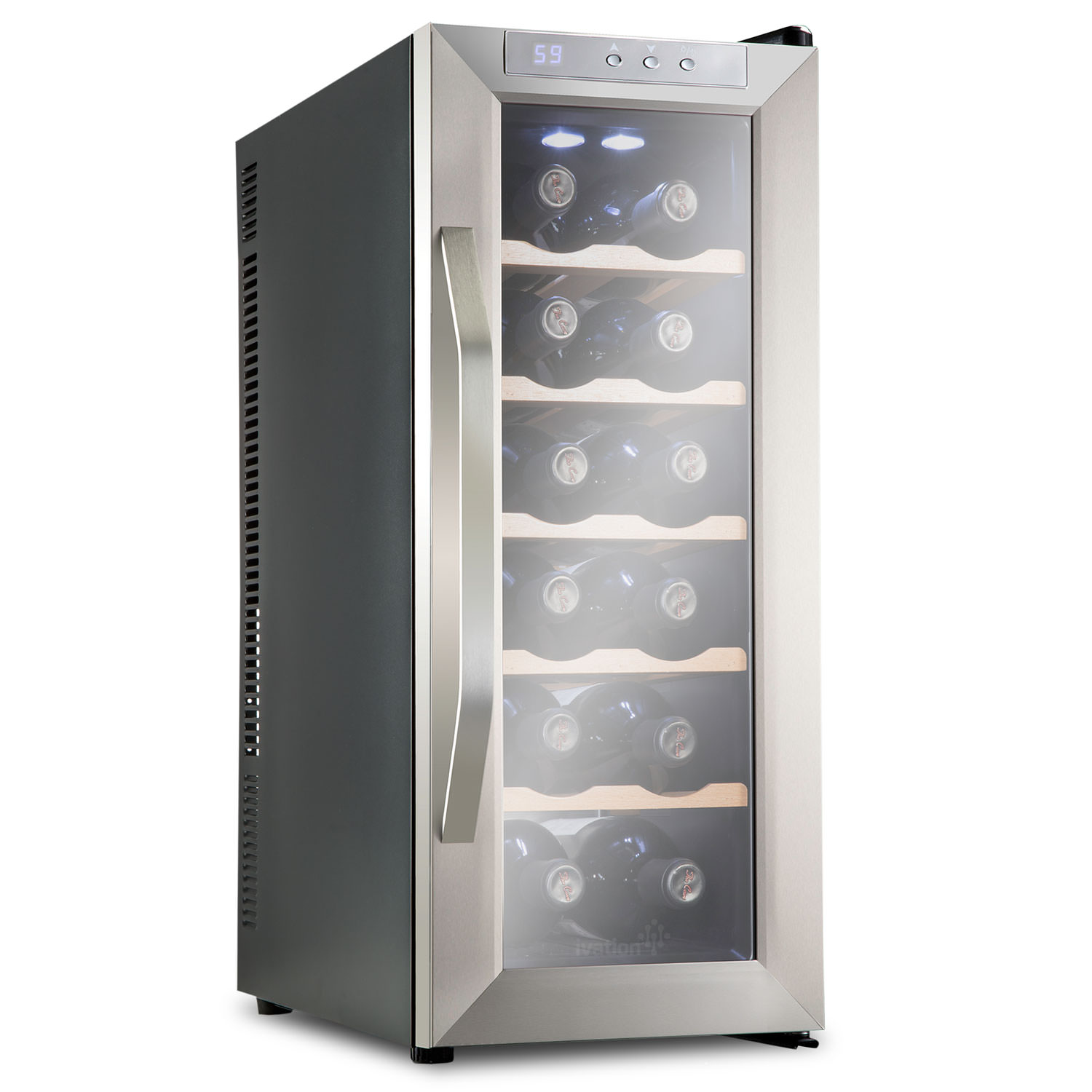 Ivation 12 Bottle Premium Thermoelectric Freestanding Wine Cooler/Fridge - Stainless Steel with Wood Shelves