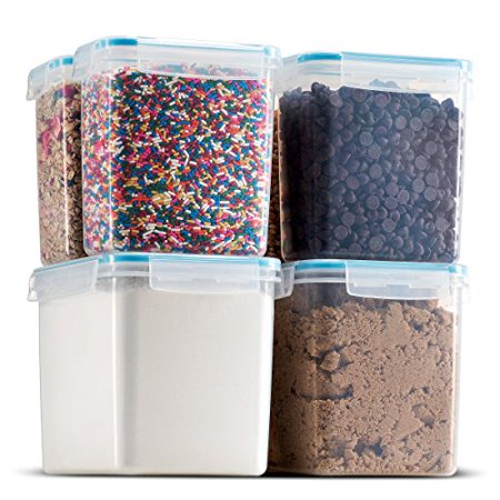 - Komax Biokips Tall Large Food Storage Sugar, Flour bakeware Containers (set of 6) - Airtight, Leakproof With Locking Lids - BPA Free Plastic - Microwave, Freezer and Dishwasher Safe