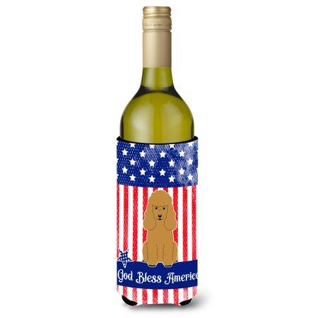 - Patriotic USA Poodle Tan Wine Bottle Beverge Insulator Hugger BB3064LITERK