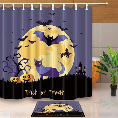BPBOP Halloween Trick or Treat Decor Cat and Pumpkin with with Bats at Moon Shower Curtain 66x72 inches with Floor Doormat Bath Rugs 15.7x23.6 inches](Halloween Tower Floor 13)