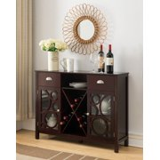 Finn Dark Cherry Wood Contemporary Wine Rack Sideboard Buffet Display Console Table With Storage Drawers