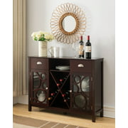Finn Dark Cherry Wood Contemporary Wine Rack Sideboard Buffet Display Console Table With Storage Drawers, Glass Cabinet Doors & Shelf