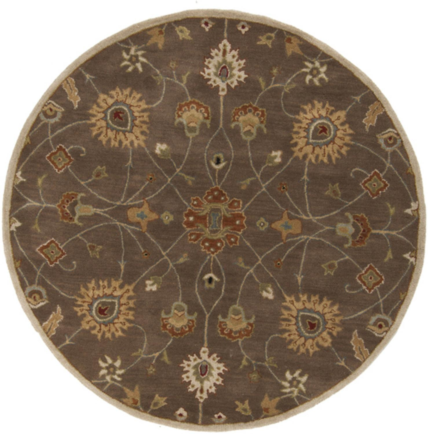 4' Valeria Safari Tan and Dark Brown Hand Tufted Round Wool Area Throw Rug