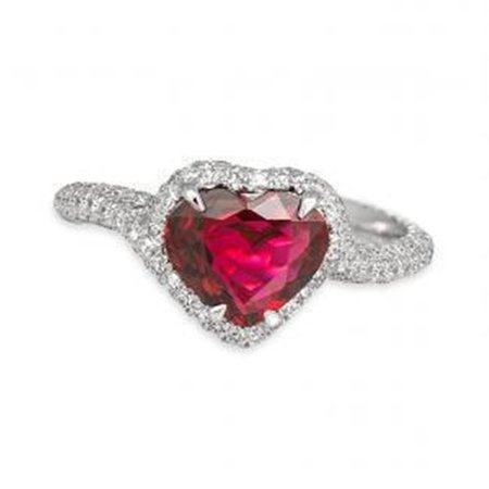 Harry Chad Enterprises 37858 6.75 CT 14K Red Ruby Heart Shape with Diamond Wedding Ring - Gold - image 1 de 1