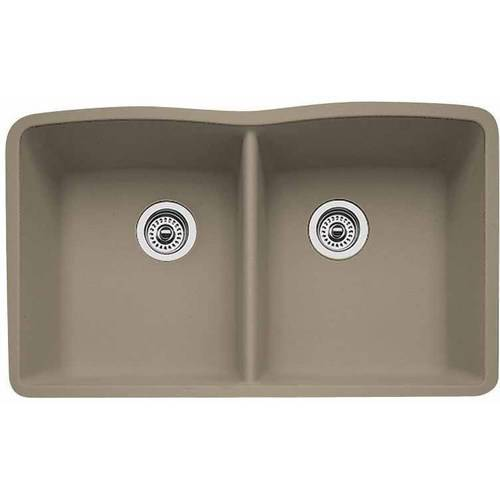 "Blanco 440186 Diamond 19.25"" X 32"" Double-Basin Granite Undermount Residential Kitchen Sink, Available in Various Colors"