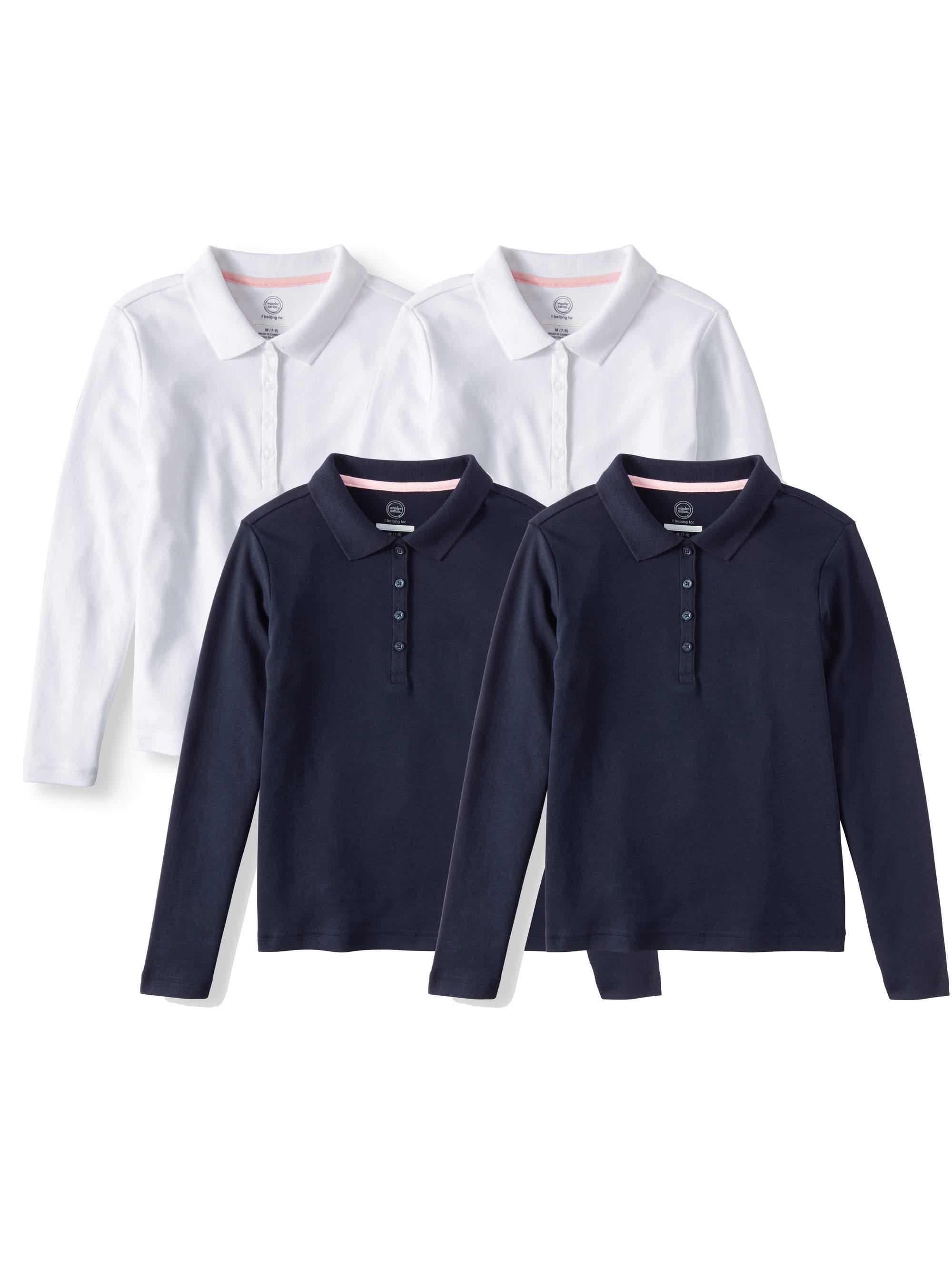 Girls School Uniform Long Sleeve Interlock Polo, 4-Pack Value Bundle