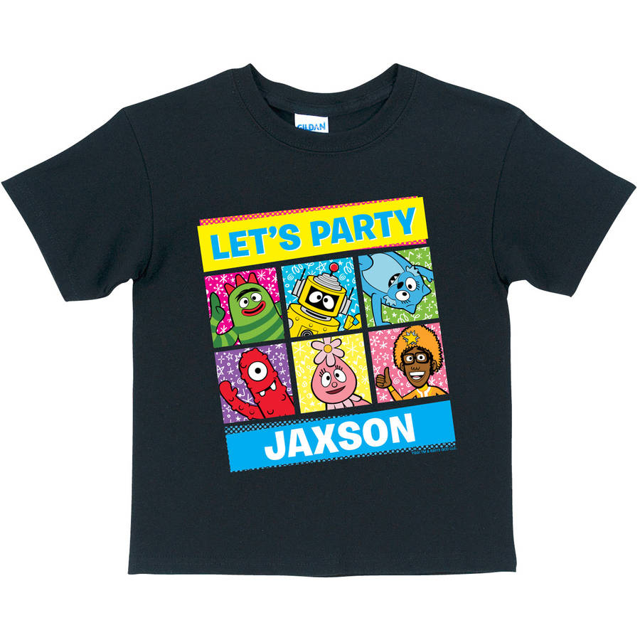 Personalized Yo Gabba Gabba Let's Party Toddler T-Shirt, Black