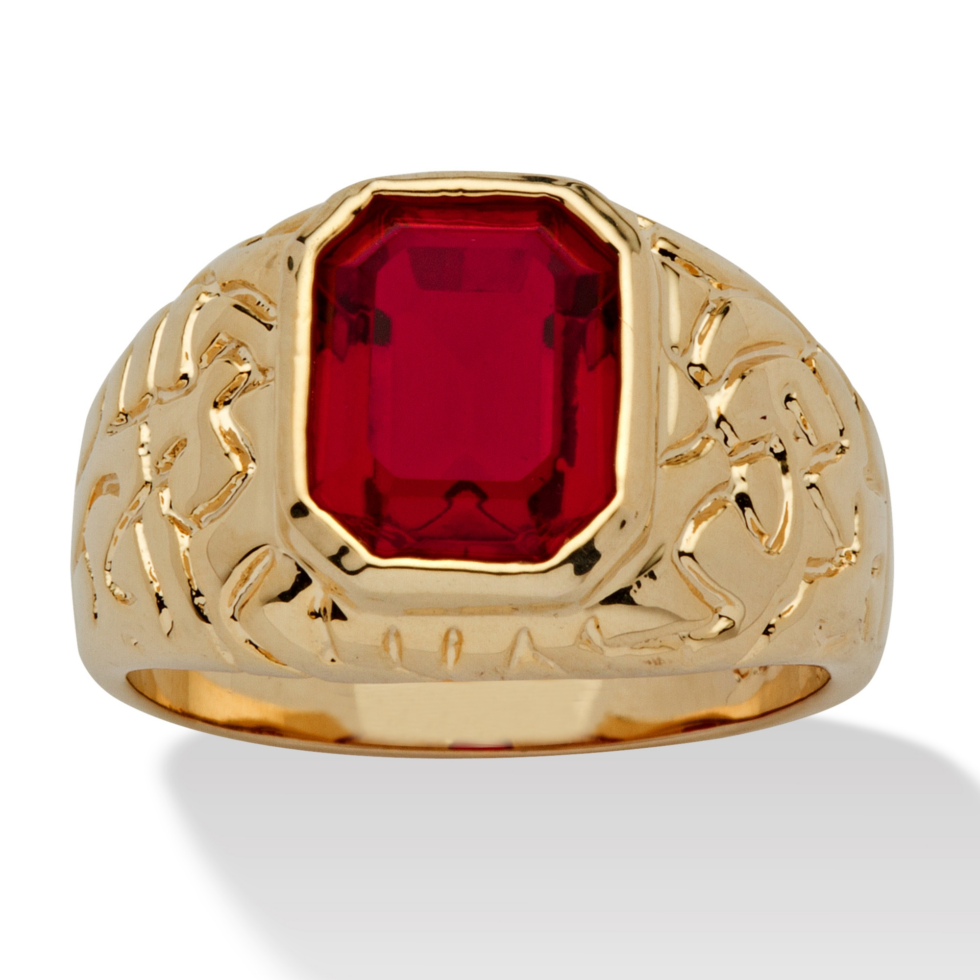 Men's Emerald-Cut Simulated Ruby Nugget-Style Ring 14k Yellow Gold-Plated Sizes 8-16 - Size 9