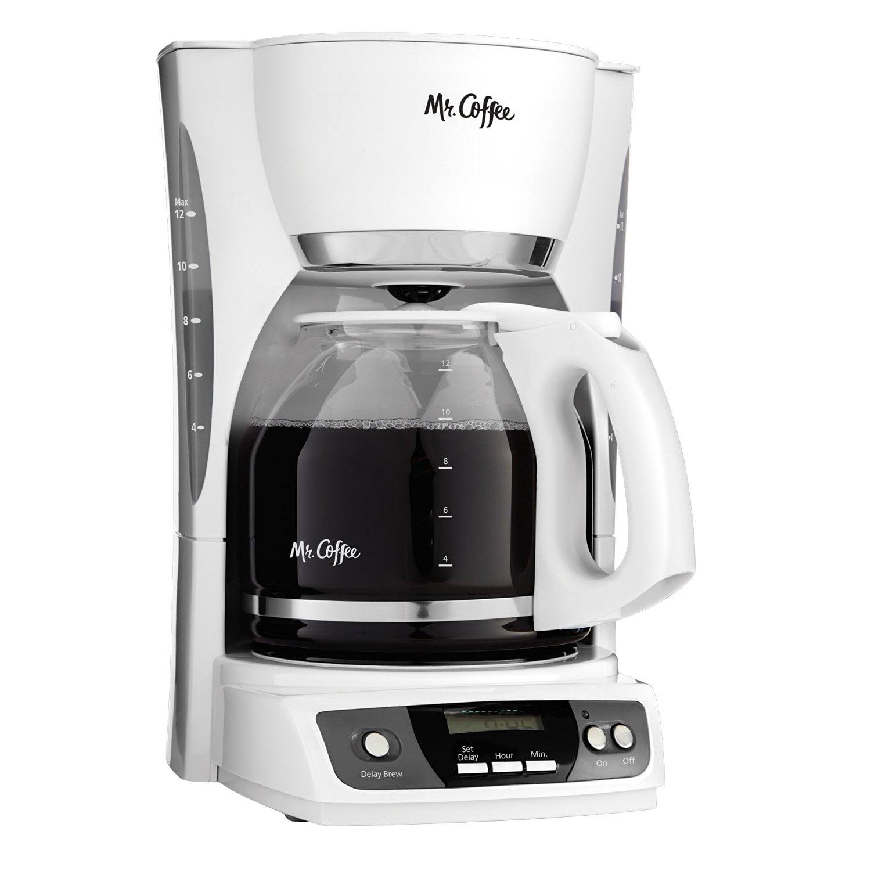 Mr. Coffee CGX20 Digital 12 Cup Programmable Coffeemaker Machine Maker, White