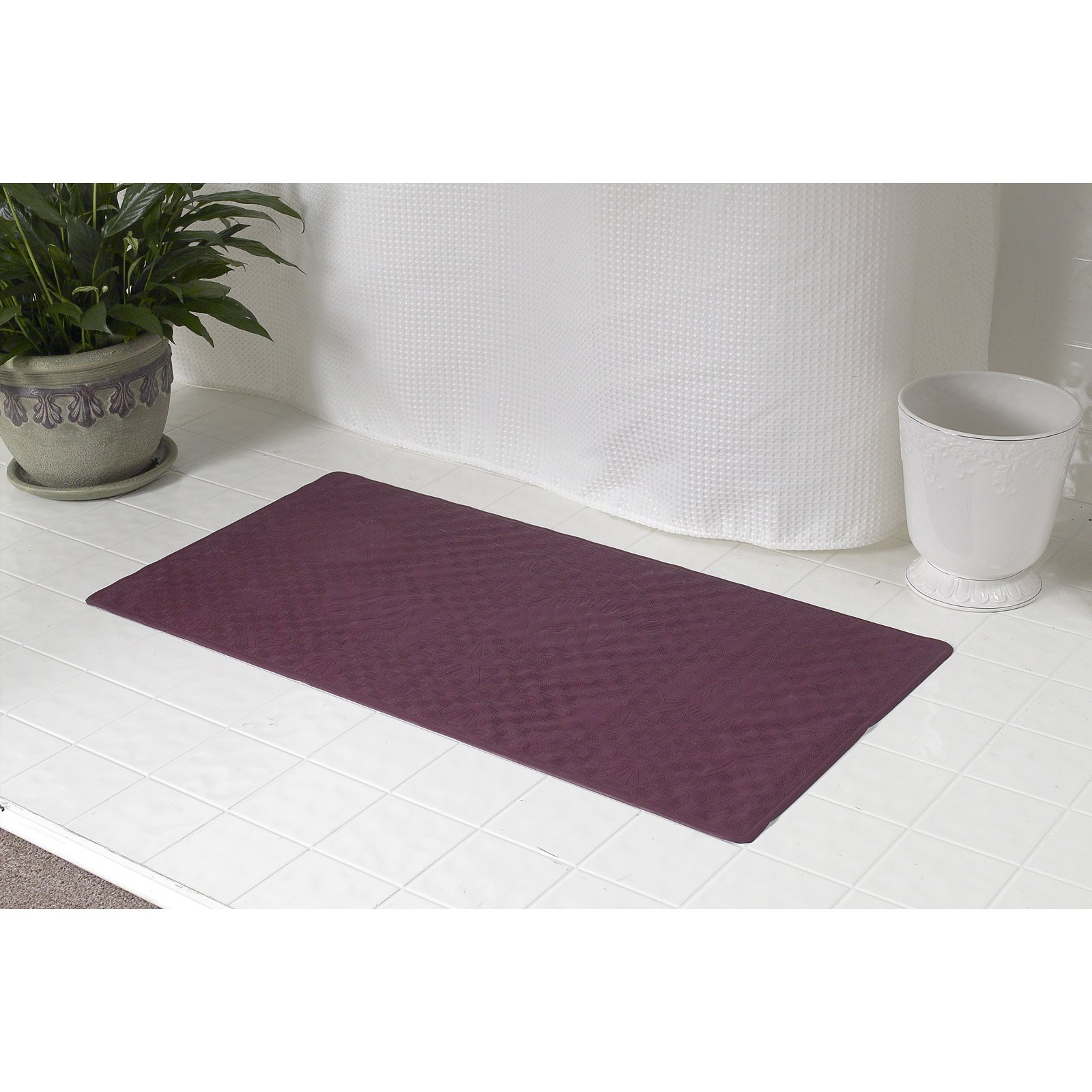 Small (13'' x 20'') Slip-Resistant Rubber Bath Tub Mat in Burgundy