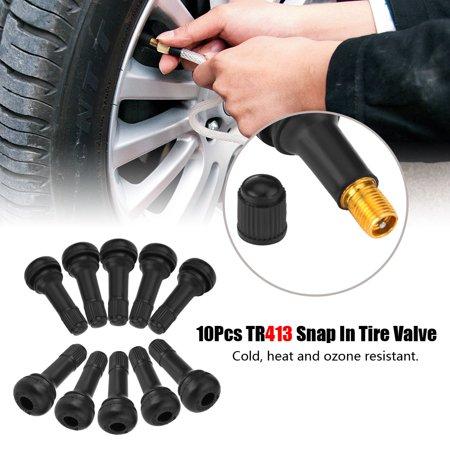 Tire Valve Stem,Fosa 10Pcs Car Auto TR413 Wheel Snap In Tire Tyre Valve Stem Short Rubber Valve, Tire Valve Stem, TR413 Tire Valve (Short Rubber Valve Stem)