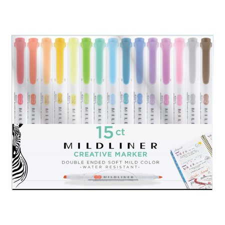 Zebra Mildliner Double-Ended Highlighter Set, 15-Colors