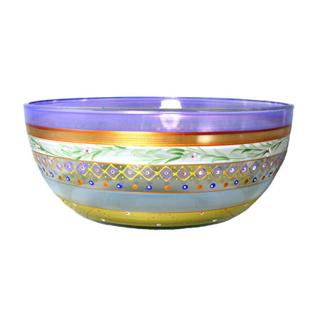 Mosaic Garland and Stripes Hand Painted Glass Serving Bowl 11