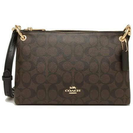 NWT Coach F76646 MIA Double Zip Signature & Leather Corssbody Bag Brown Black